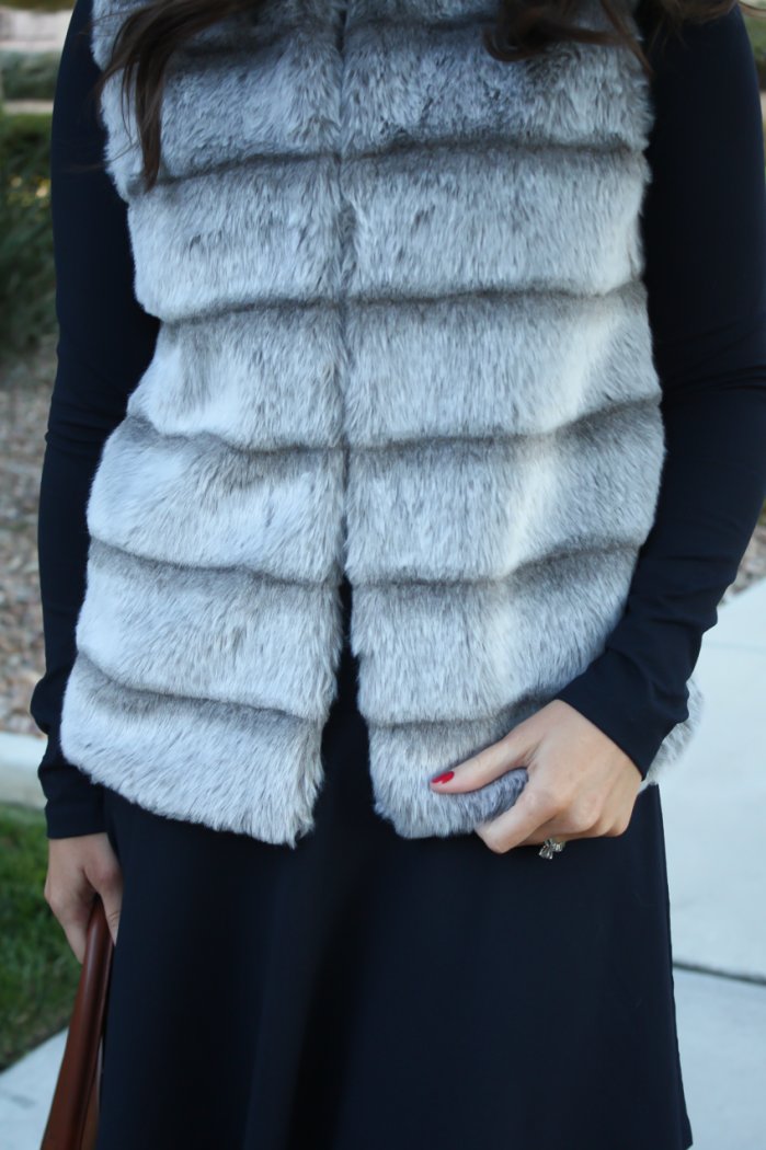 Grey Faux Fur Vest, Navy Ponte Knit Drop Waist Dress, Tall Brown Boots, Brown Leather Tote, Joie, Susana Monaco, Loeffler Randall, Celine 15