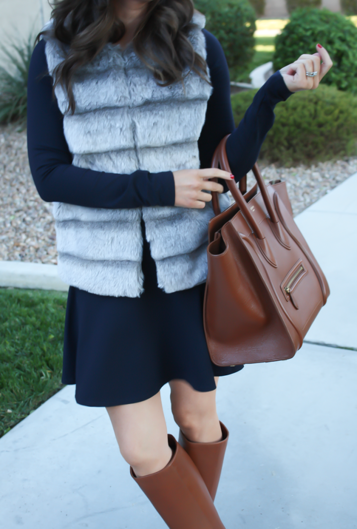 Grey Faux Fur Vest, Navy Ponte Knit Drop Waist Dress, Tall Brown Boots, Brown Leather Tote, Joie, Susana Monaco, Loeffler Randall, Celine 17