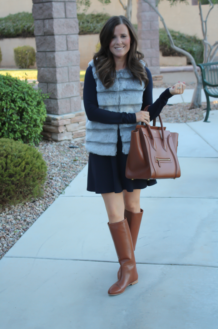 Grey Faux Fur Vest, Navy Ponte Knit Drop Waist Dress, Tall Brown Boots, Brown Leather Tote, Joie, Susana Monaco, Loeffler Randall, Celine 2