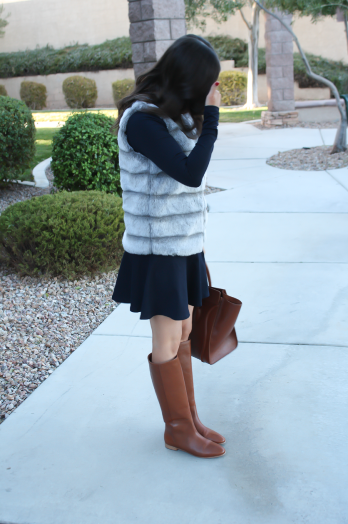 Grey Faux Fur Vest, Navy Ponte Knit Drop Waist Dress, Tall Brown Boots, Brown Leather Tote, Joie, Susana Monaco, Loeffler Randall, Celine 6
