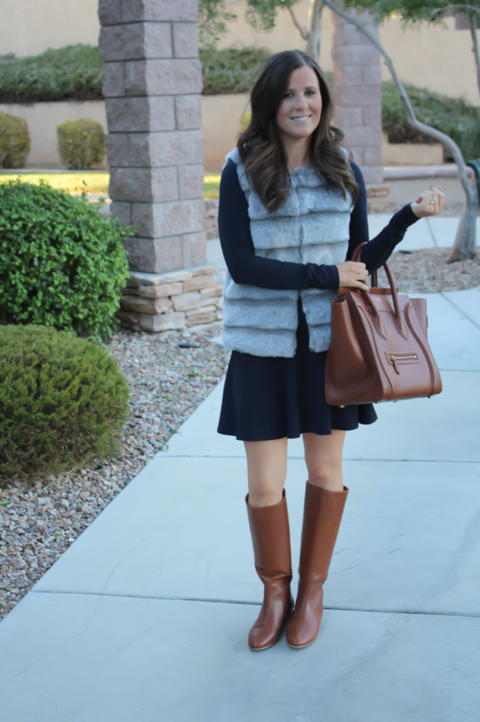 Grey Faux Fur Vest, Navy Ponte Knit Drop Waist Dress, Tall Brown Boots, Brown Leather Tote, Joie, Susana Monaco, Loeffler Randall, Celine