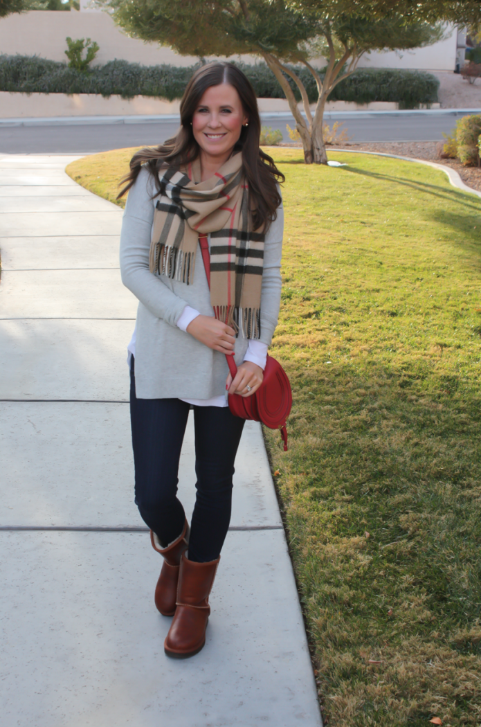 Grey Tunic Sweater, White Tunic Tee, Dark Rinse Skinny Jeans, Short Leather Boots, Plaid Scarf, Red Leather Crossbody, Nordstrom, Paige Jeans, BP, Uggs, Burberry, Chloe