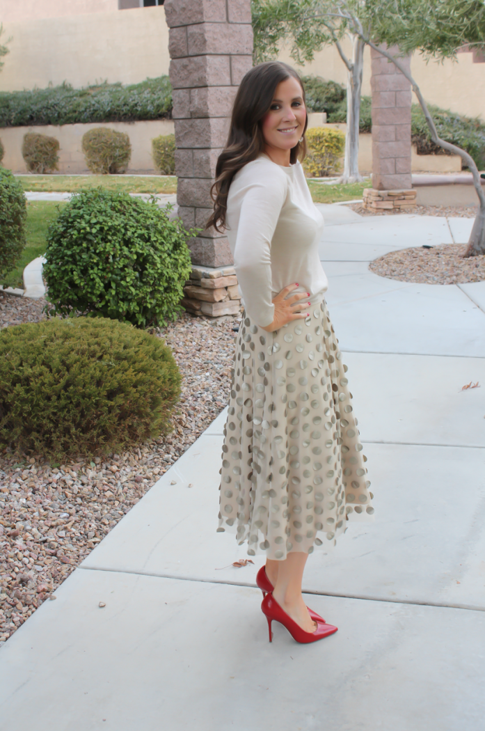 Platinum Dot Midi Skirt, Beige Cashmere Sweater, Red Leather Heels, Printed Scuba Dress, Leather Moto Jacket, Beige Suede Heels, Anthropologie, Holiday Style 2