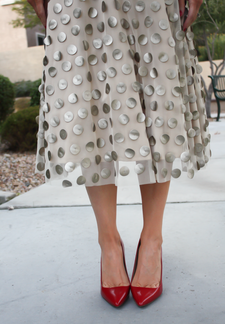 Platinum Dot Midi Skirt, Beige Cashmere Sweater, Red Leather Heels, Printed Scuba Dress, Leather Moto Jacket, Beige Suede Heels, Anthropologie, Holiday Style 24