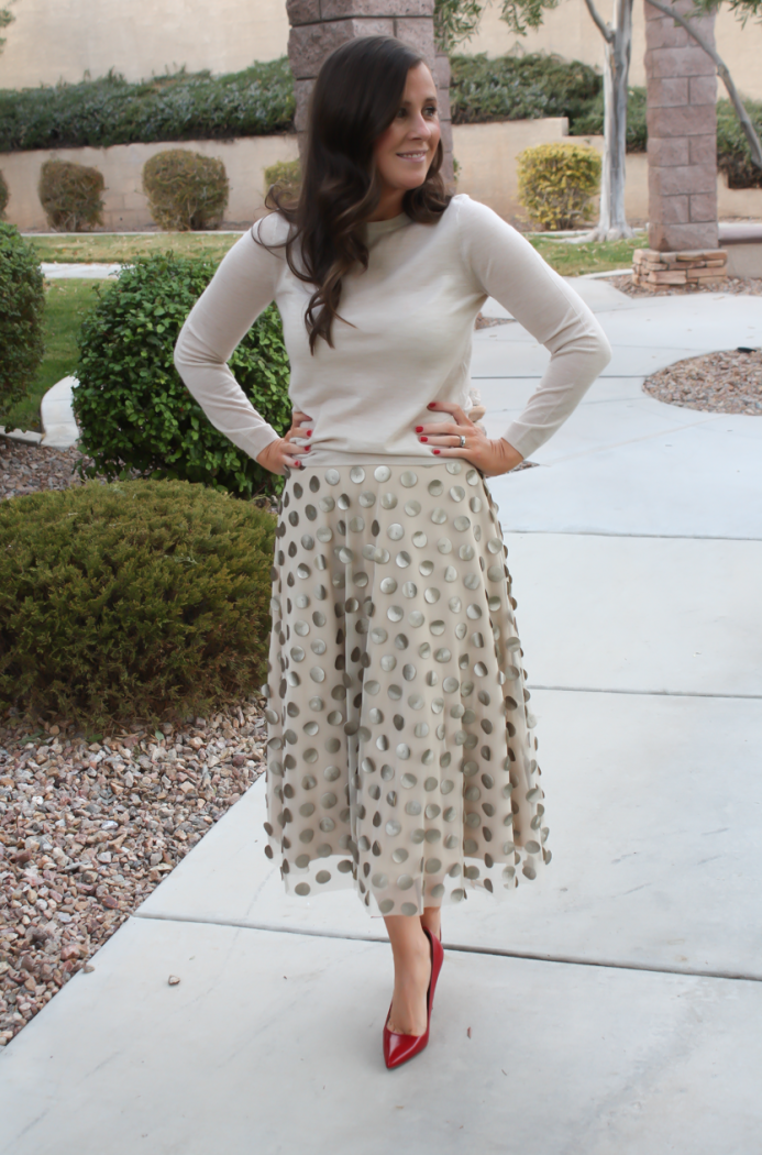 Platinum Dot Midi Skirt, Beige Cashmere Sweater, Red Leather Heels, Printed Scuba Dress, Leather Moto Jacket, Beige Suede Heels, Anthropologie, Holiday Style 5