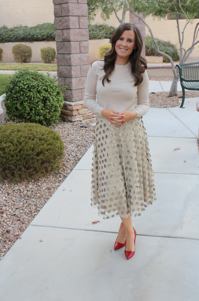 Platinum Dot Midi Skirt, Beige Cashmere Sweater, Red Leather Heels, Printed Scuba Dress, Leather Moto Jacket, Beige Suede Heels, Anthropologie, Holiday Style