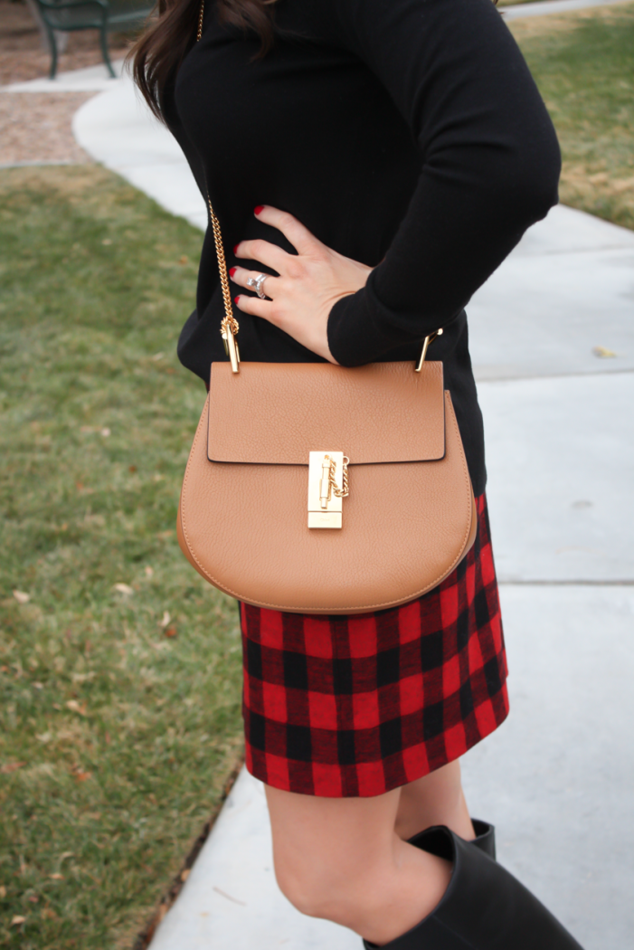 Red and Black Buffalo Plaid Mini Skirt, Black :tunic Sweater, Black Tall Boots, Brown Leather Saddle Bag, Nordstrom, Madewell, Loeffler Randall, Chloe 3