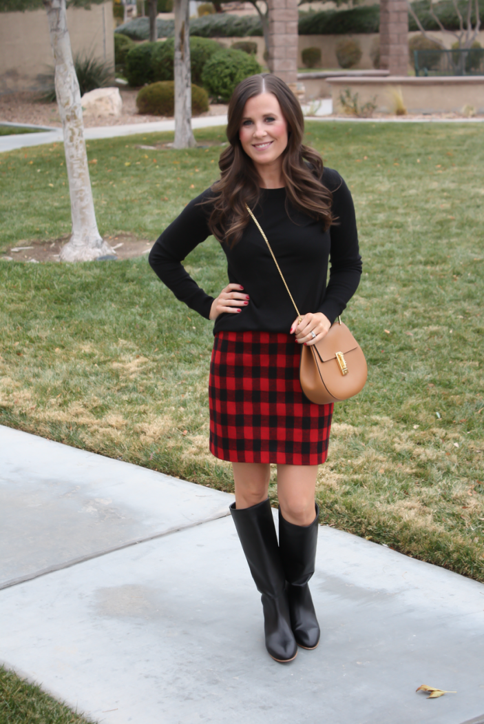 Red and Black Buffalo Plaid Mini Skirt, Black :tunic Sweater, Black Tall Boots, Brown Leather Saddle Bag, Nordstrom, Madewell, Loeffler Randall, Chloe