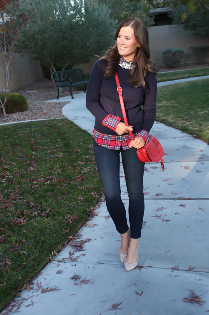 Sequin Collar Navy Sweater, Red Plaid Shirt, Cropped Dark Rinse Skinny Jeans, Red Leather Crossbody Bag, Beige Suede Heels, J.Crew, J.Crew Factory, Paige Denim, Chloe 16