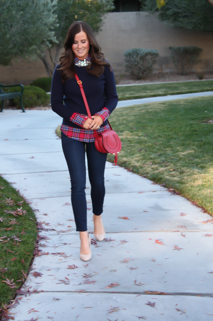 Sequin Collar Navy Sweater, Red Plaid Shirt, Cropped Dark Rinse Skinny Jeans, Red Leather Crossbody Bag, Beige Suede Heels, J.Crew, J.Crew Factory, Paige Denim, Chloe 17