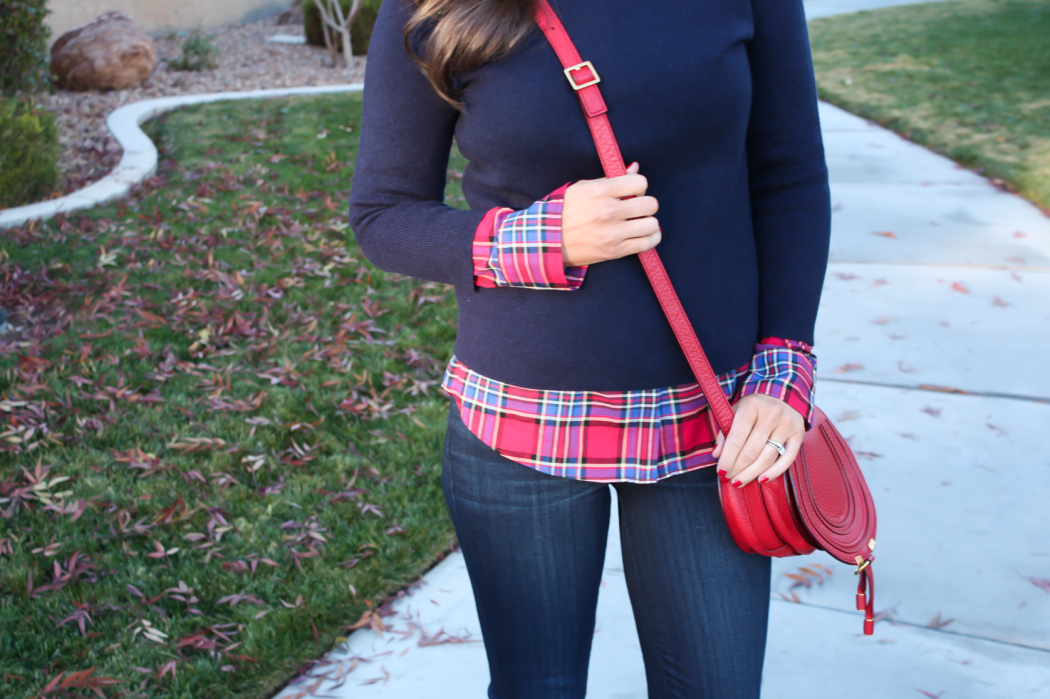 Sequin Collar Navy Sweater, Red Plaid Shirt, Cropped Dark Rinse Skinny Jeans, Red Leather Crossbody Bag, Beige Suede Heels, J.Crew, J.Crew Factory, Paige Denim, Chloe 19