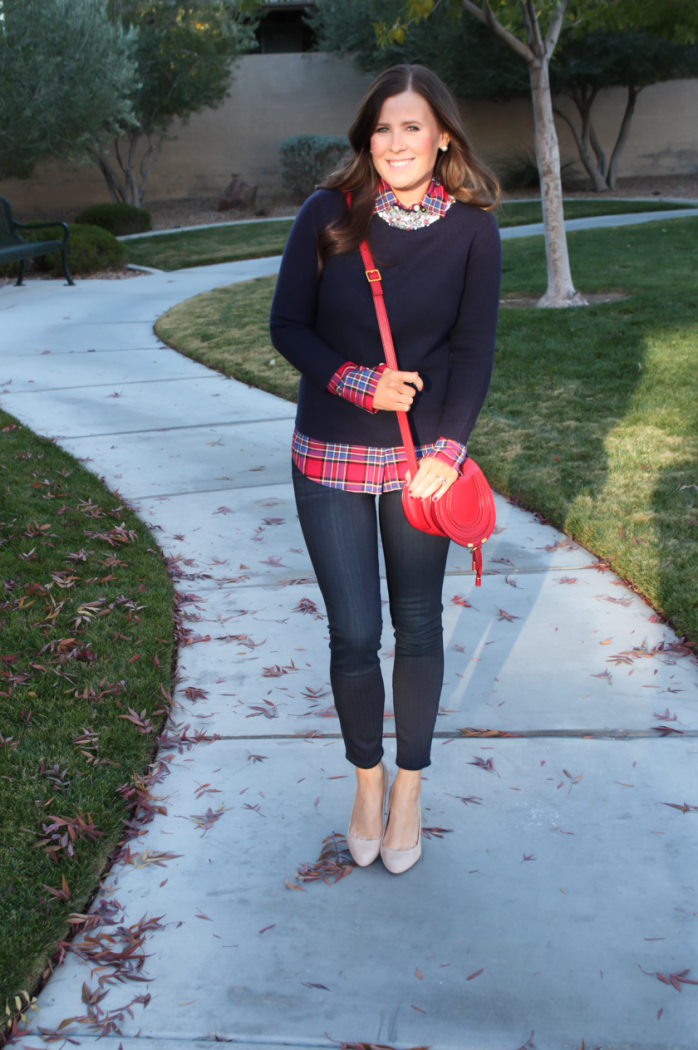 Sequin Collar Navy Sweater, Red Plaid Shirt, Cropped Dark Rinse Skinny Jeans, Red Leather Crossbody Bag, Beige Suede Heels, J.Crew, J.Crew Factory, Paige Denim, Chloe 2