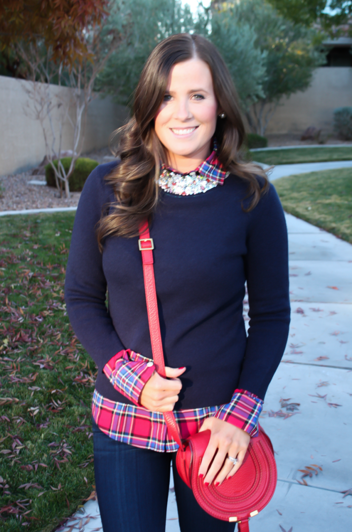 Sequin Collar Navy Sweater, Red Plaid Shirt, Cropped Dark Rinse Skinny Jeans, Red Leather Crossbody Bag, Beige Suede Heels, J.Crew, J.Crew Factory, Paige Denim, Chloe 21