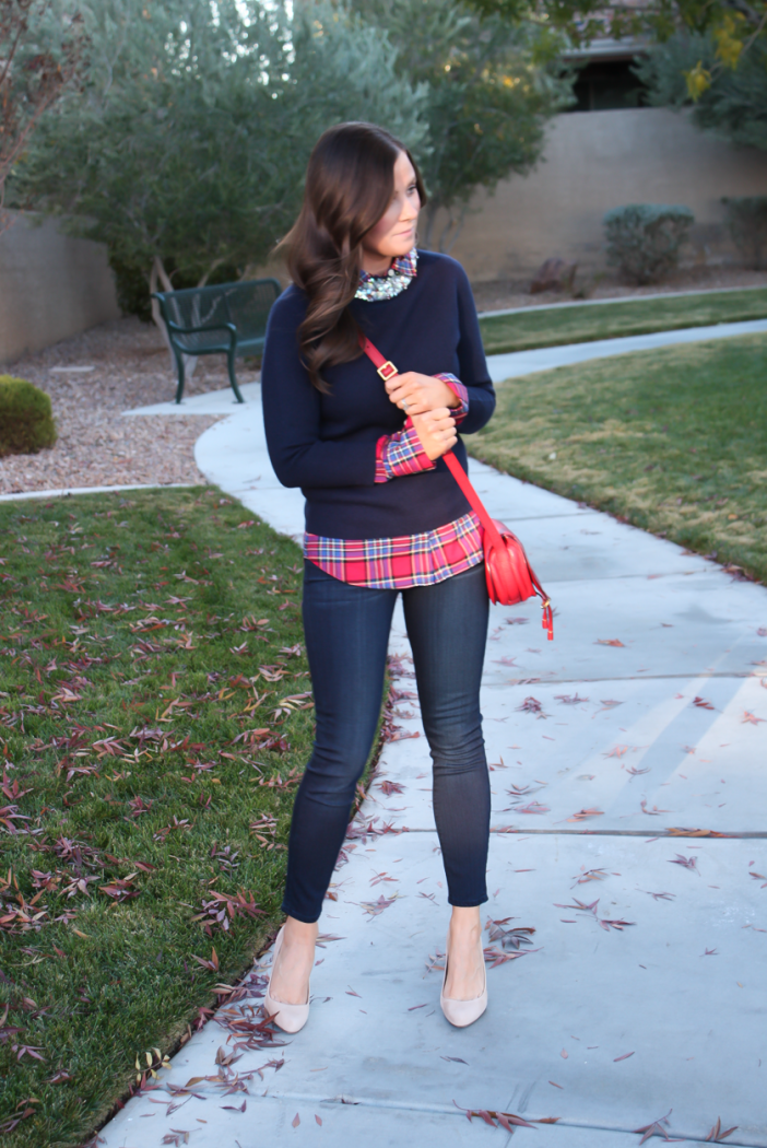 Sequin Collar Navy Sweater, Red Plaid Shirt, Cropped Dark Rinse Skinny Jeans, Red Leather Crossbody Bag, Beige Suede Heels, J.Crew, J.Crew Factory, Paige Denim, Chloe 6