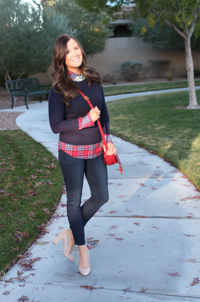 Sequin Collar Navy Sweater, Red Plaid Shirt, Cropped Dark Rinse Skinny Jeans, Red Leather Crossbody Bag, Beige Suede Heels, J.Crew, J.Crew Factory, Paige Denim, Chloe 9