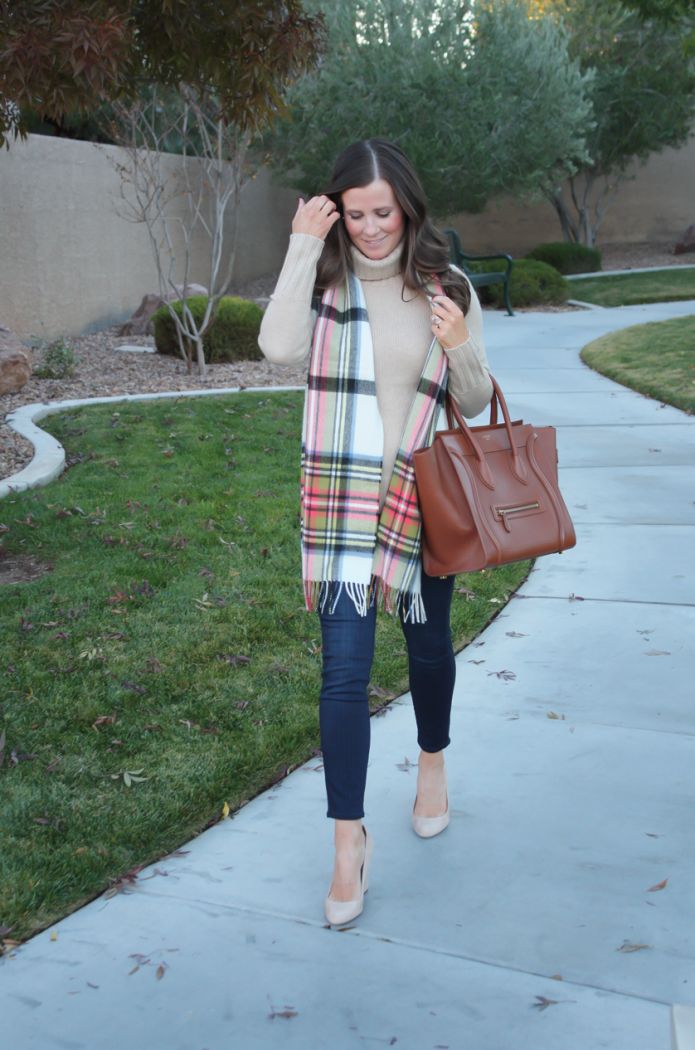 Tan Cashmere Turtleneck Sweater, Dark Rinse Cropped Skinny Jeans, Beige Suede Heels, Plaid Scarf, J.Crew, Paige Jeans, Begg & Co, Celine 2