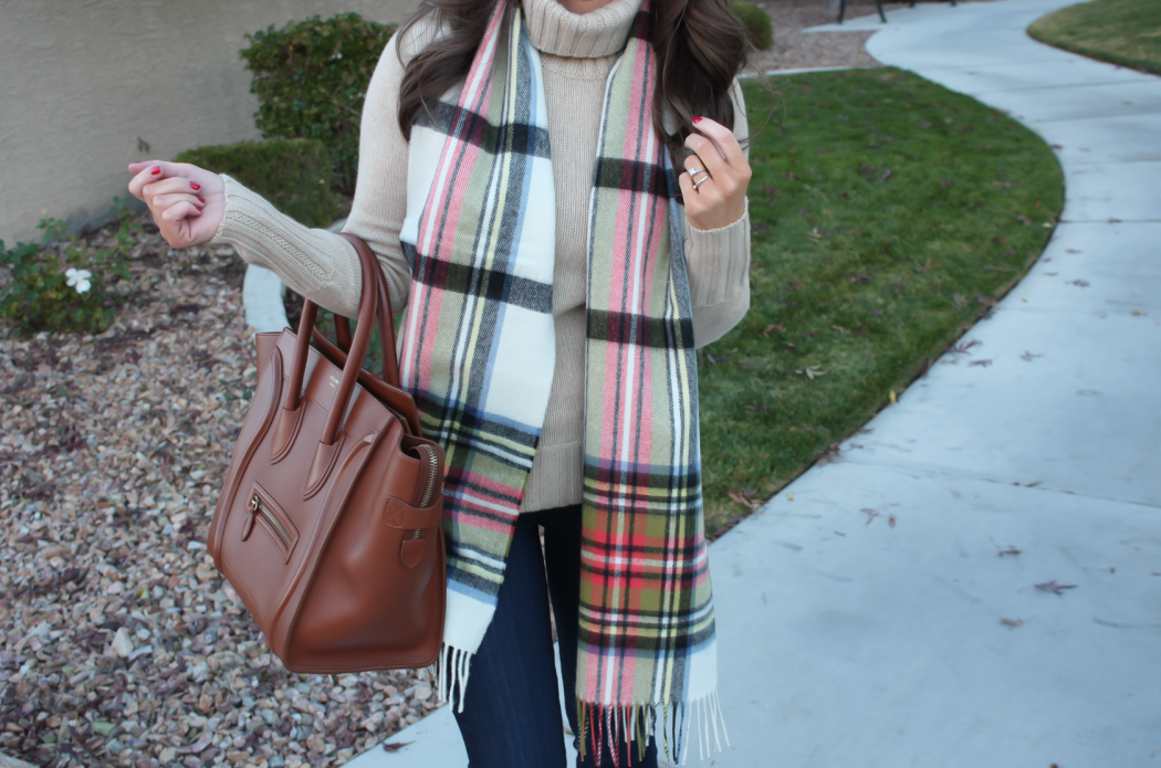 Tan Cashmere Turtleneck Sweater, Dark Rinse Cropped Skinny Jeans, Beige Suede Heels, Plaid Scarf, J.Crew, Paige Jeans, Begg & Co, Celine 3