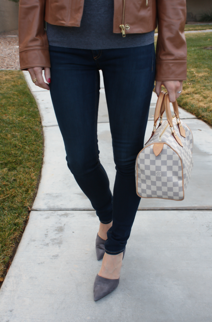 Tan Leather Jacket, Grey Cashmere Turtleneck Sweater, Dark Rinse Skinny Jeans, Grey Suede Heels, Nordstrom, J.Crew, Rag and Bone, Louis Vuitton 12
