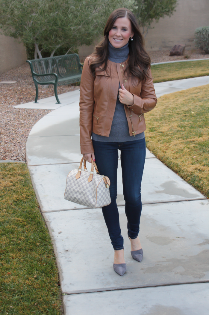 Tan Leather Jacket, Grey Cashmere Turtleneck Sweater, Dark Rinse Skinny Jeans, Grey Suede Heels, Nordstrom, J.Crew, Rag and Bone, Louis Vuitton 18