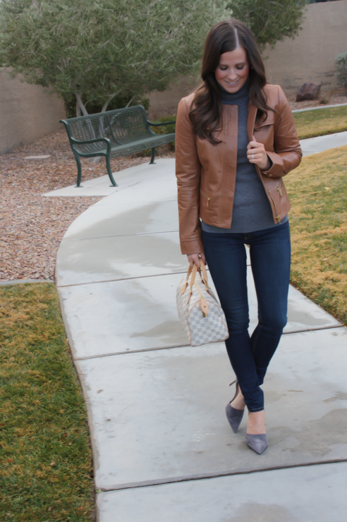 Tan Leather Jacket, Grey Cashmere Turtleneck Sweater, Dark Rinse Skinny Jeans, Grey Suede Heels, Nordstrom, J.Crew, Rag and Bone, Louis Vuitton 4