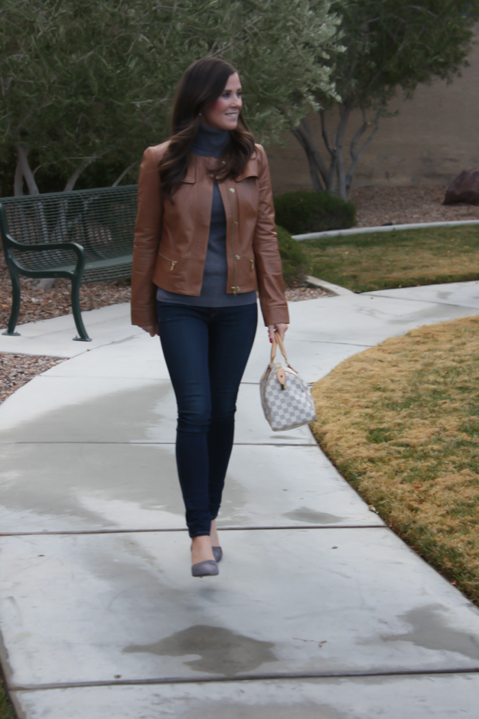 Tan Leather Jacket, Grey Cashmere Turtleneck Sweater, Dark Rinse Skinny Jeans, Grey Suede Heels, Nordstrom, J.Crew, Rag and Bone, Louis Vuitton 5