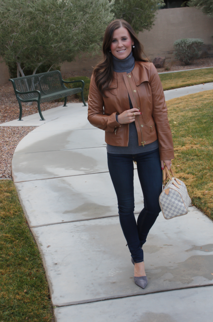 Tan Leather Jacket, Grey Cashmere Turtleneck Sweater, Dark Rinse Skinny Jeans, Grey Suede Heels, Nordstrom, J.Crew, Rag and Bone, Louis Vuitton