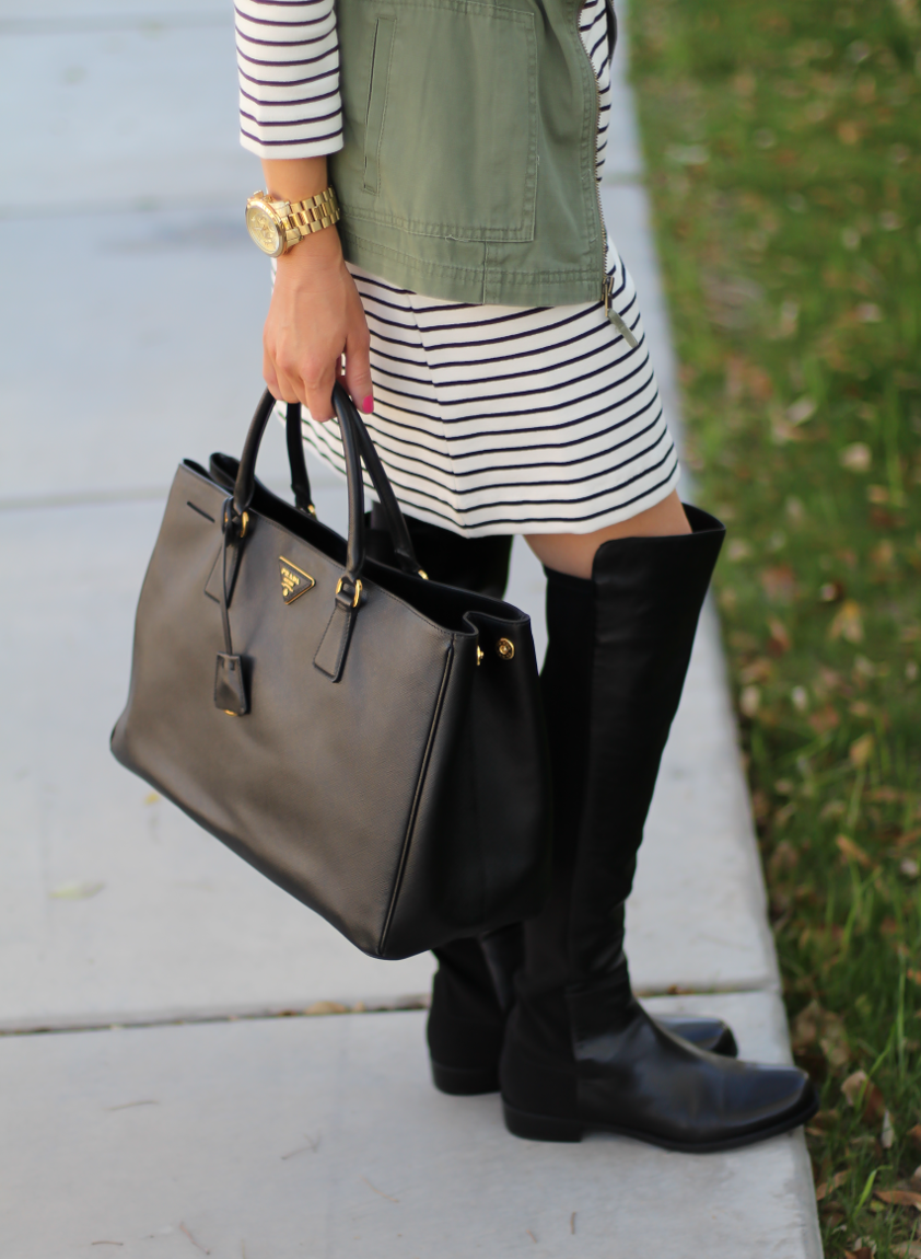 Black and White Striped Dress, Green Utility Vest, Black Leather Over the Knee Boots, Black Leather Tote, J.Crew Factory, Target, Stuart Weitzman, Prada 13