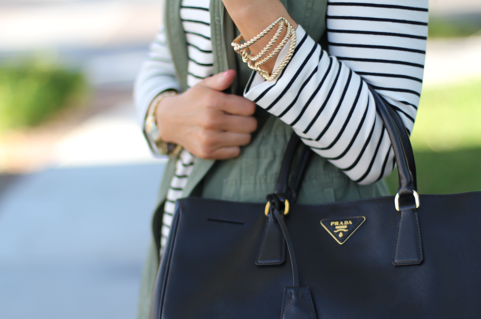 Black and White Striped Dress, Green Utility Vest, Black Leather Over the Knee Boots, Black Leather Tote, J.Crew Factory, Target, Stuart Weitzman, Prada 17