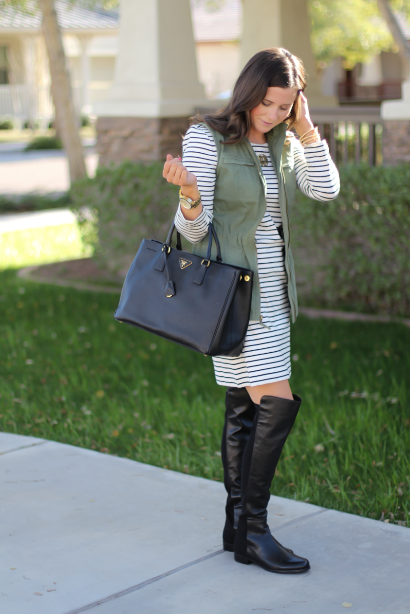 Black and White Striped Dress, Green Utility Vest, Black Leather Over the Knee Boots, Black Leather Tote, J.Crew Factory, Target, Stuart Weitzman, Prada 3