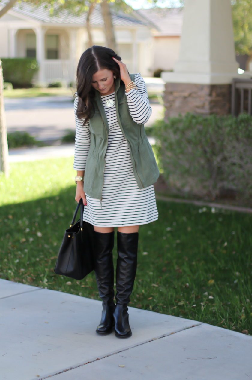 Black and White Striped Dress, Green Utility Vest, Black Leather Over the Knee Boots, Black Leather Tote, J.Crew Factory, Target, Stuart Weitzman, Prada 5