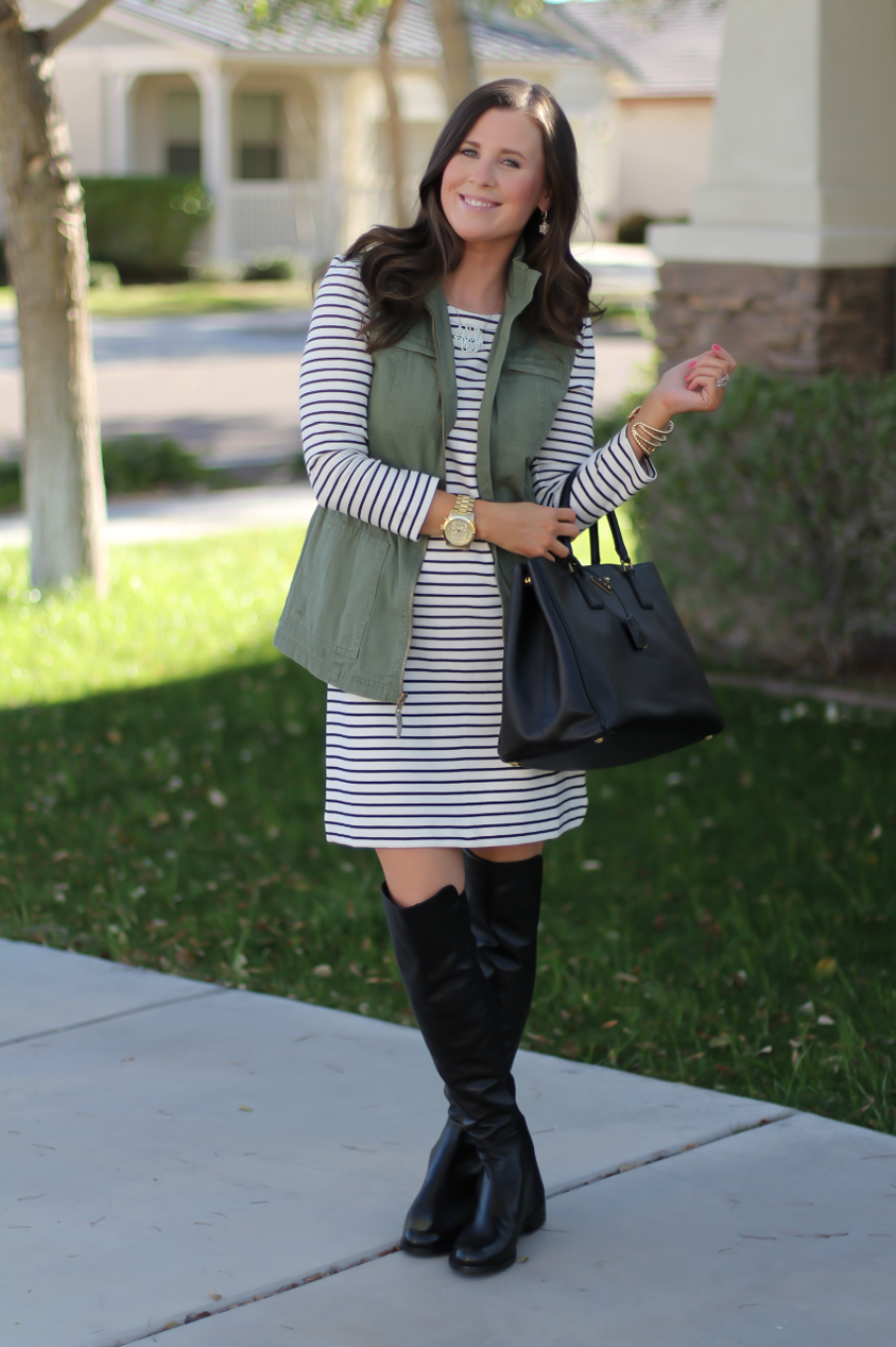 Black and White Striped Dress, Green Utility Vest, Black Leather Over the Knee Boots, Black Leather Tote, J.Crew Factory, Target, Stuart Weitzman, Prada 7