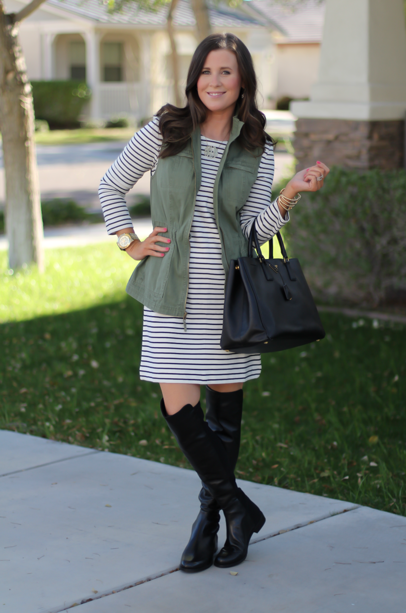 Black and White Striped Dress, Green Utility Vest, Black Leather Over the Knee Boots, Black Leather Tote, J.Crew Factory, Target, Stuart Weitzman, Prada 8