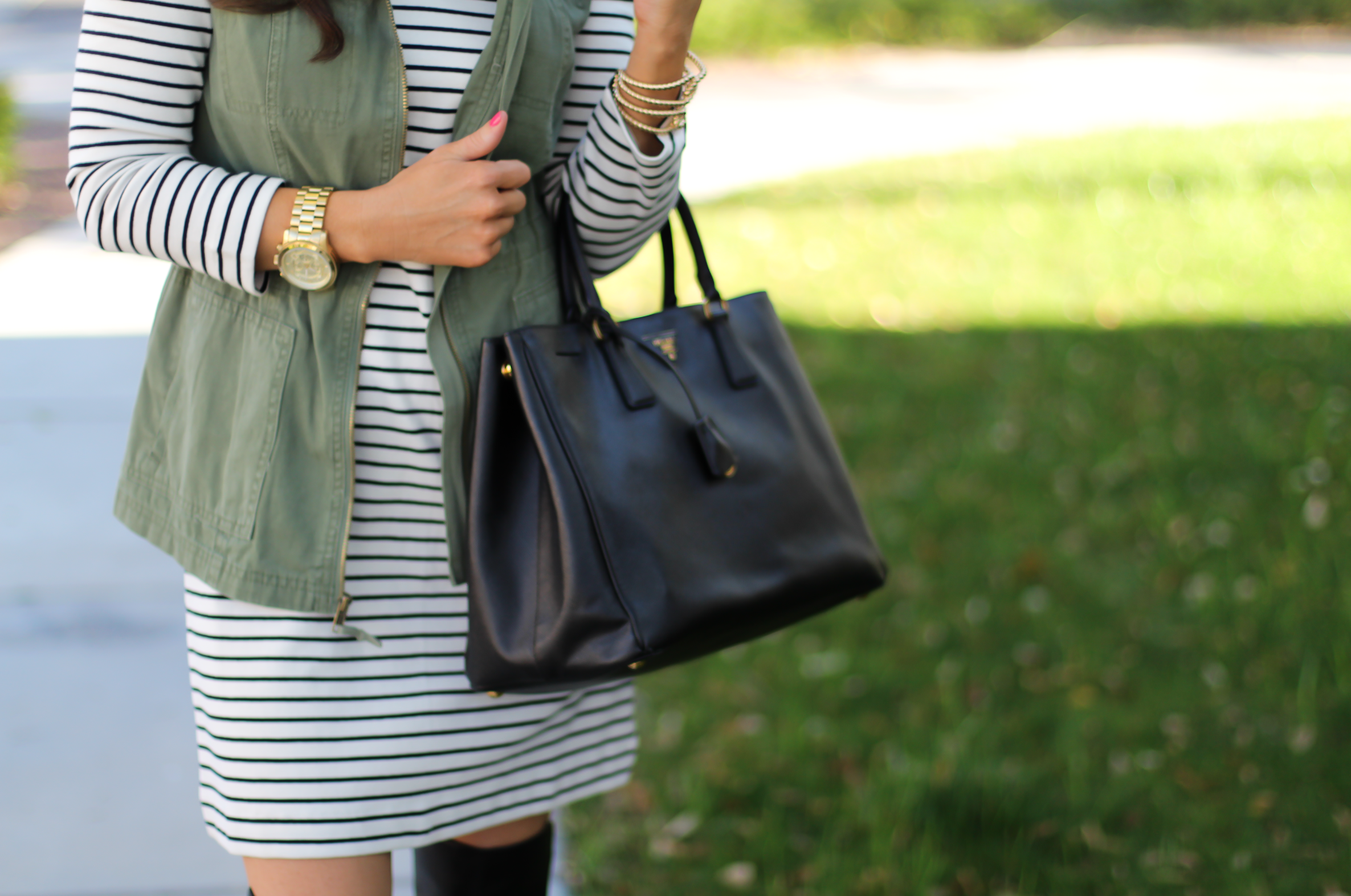 Black and White Striped Dress, Green Utility Vest, Black Leather Over the Knee Boots, Black Leather Tote, J.Crew Factory, Target, Stuart Weitzman, Prada 9