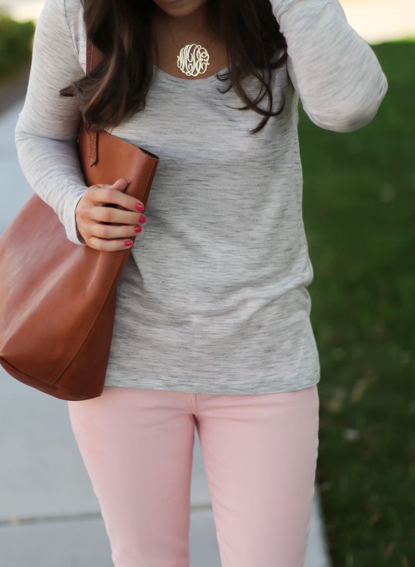 Blush Pink Skinny Jeans, Grey Scoop Neck Tee, Tan Suede Booties, Cognac Leather Tote, 7 for All Mankind, Banana Republic, Joie, Madewell 10
