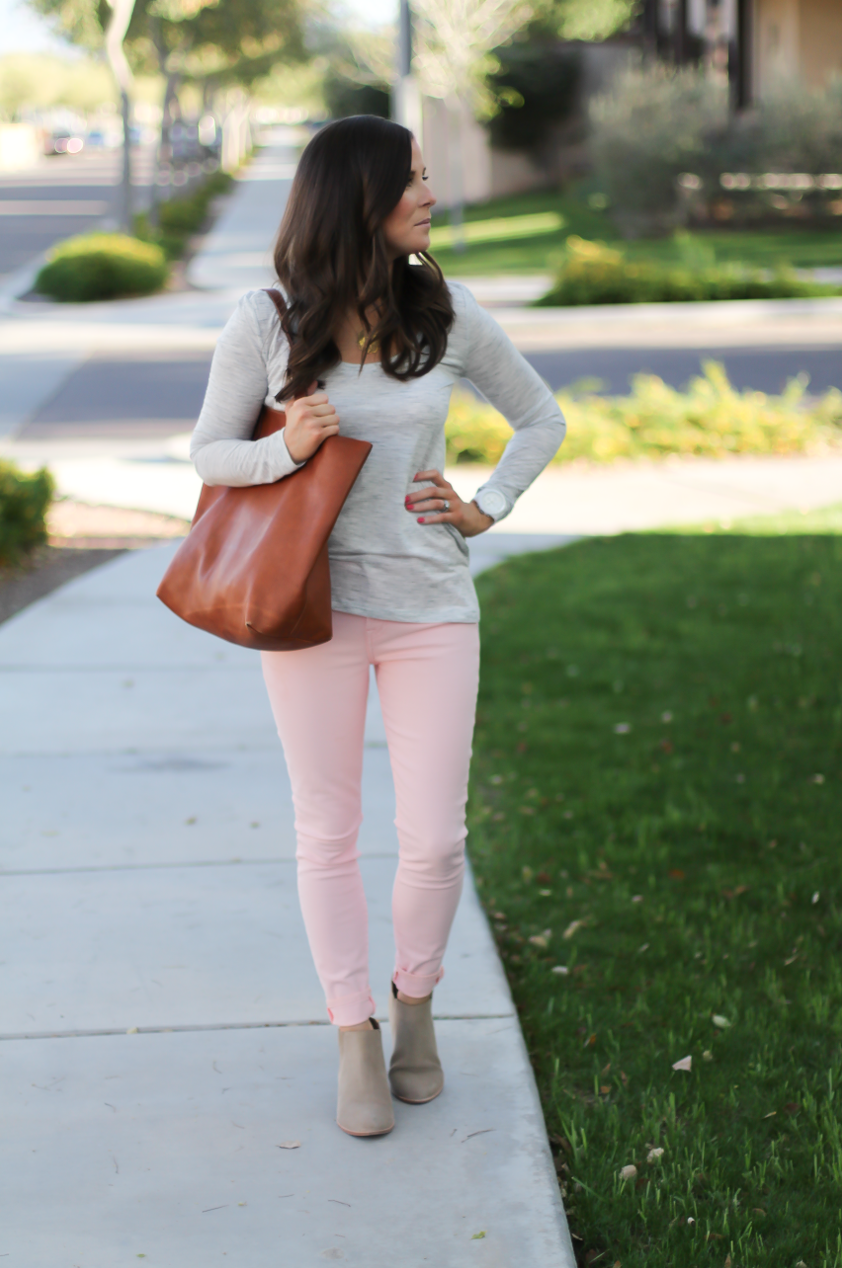 Blush Pink Skinny Jeans, Grey Scoop Neck Tee, Tan Suede Booties, Cognac Leather Tote, 7 for All Mankind, Banana Republic, Joie, Madewell 2