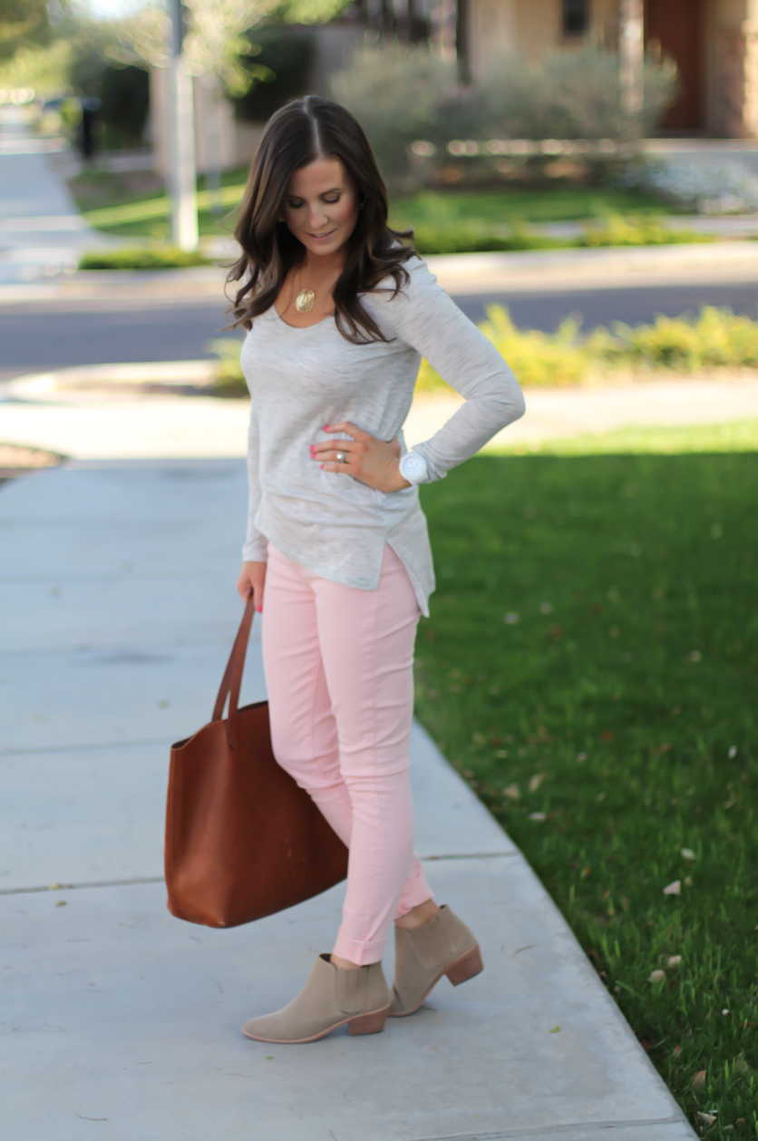 Blush Pink Skinny Jeans, Grey Scoop Neck Tee, Tan Suede Booties, Cognac Leather Tote, 7 for All Mankind, Banana Republic, Joie, Madewell 3