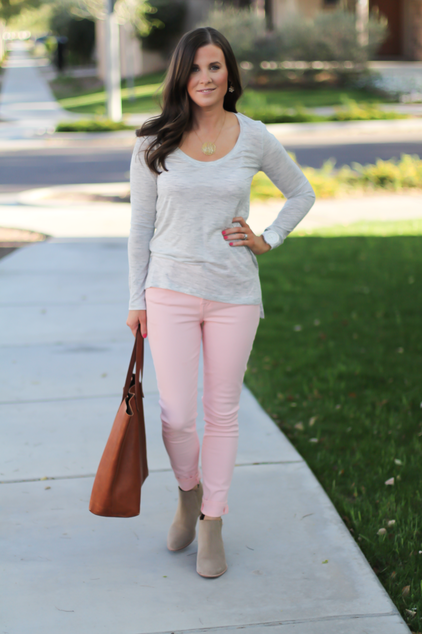 Blush Pink Skinny Jeans, Grey Scoop Neck Tee, Tan Suede Booties, Cognac Leather Tote, 7 for All Mankind, Banana Republic, Joie, Madewell 5