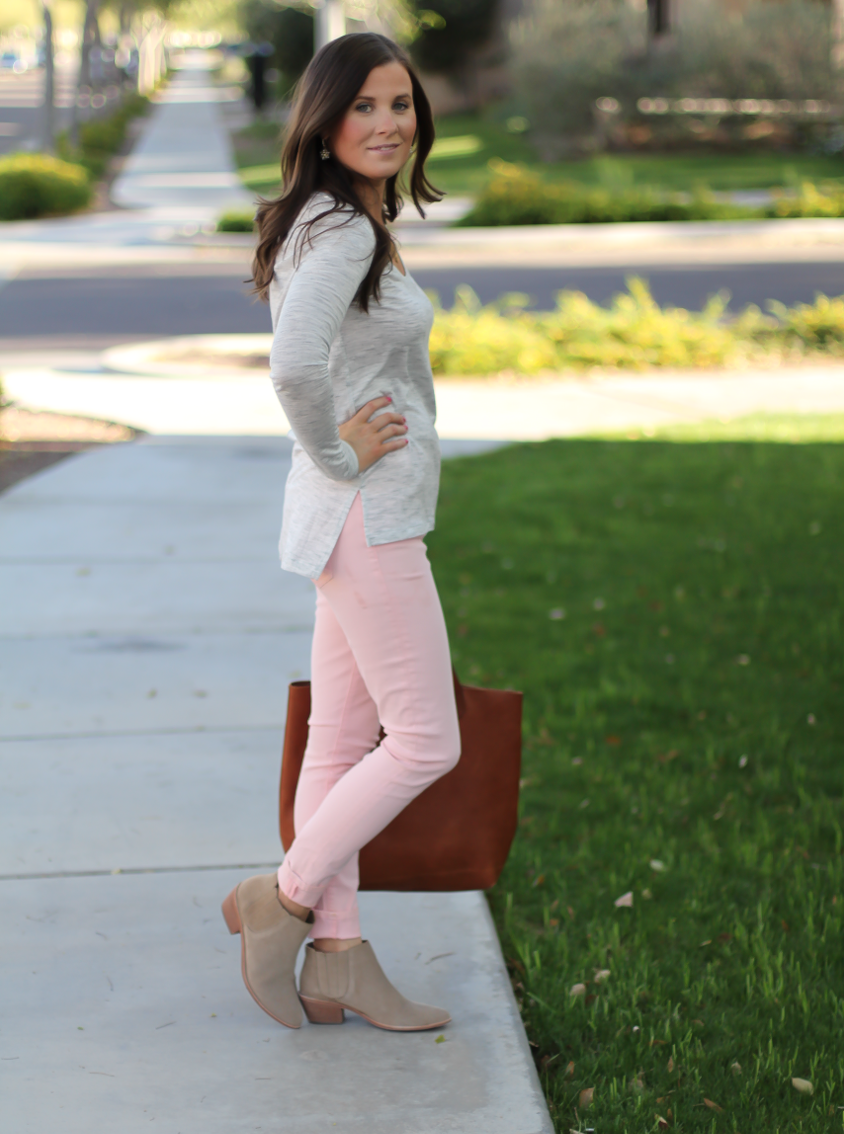 Blush Pink Skinny Jeans, Grey Scoop Neck Tee, Tan Suede Booties, Cognac Leather Tote, 7 for All Mankind, Banana Republic, Joie, Madewell 7