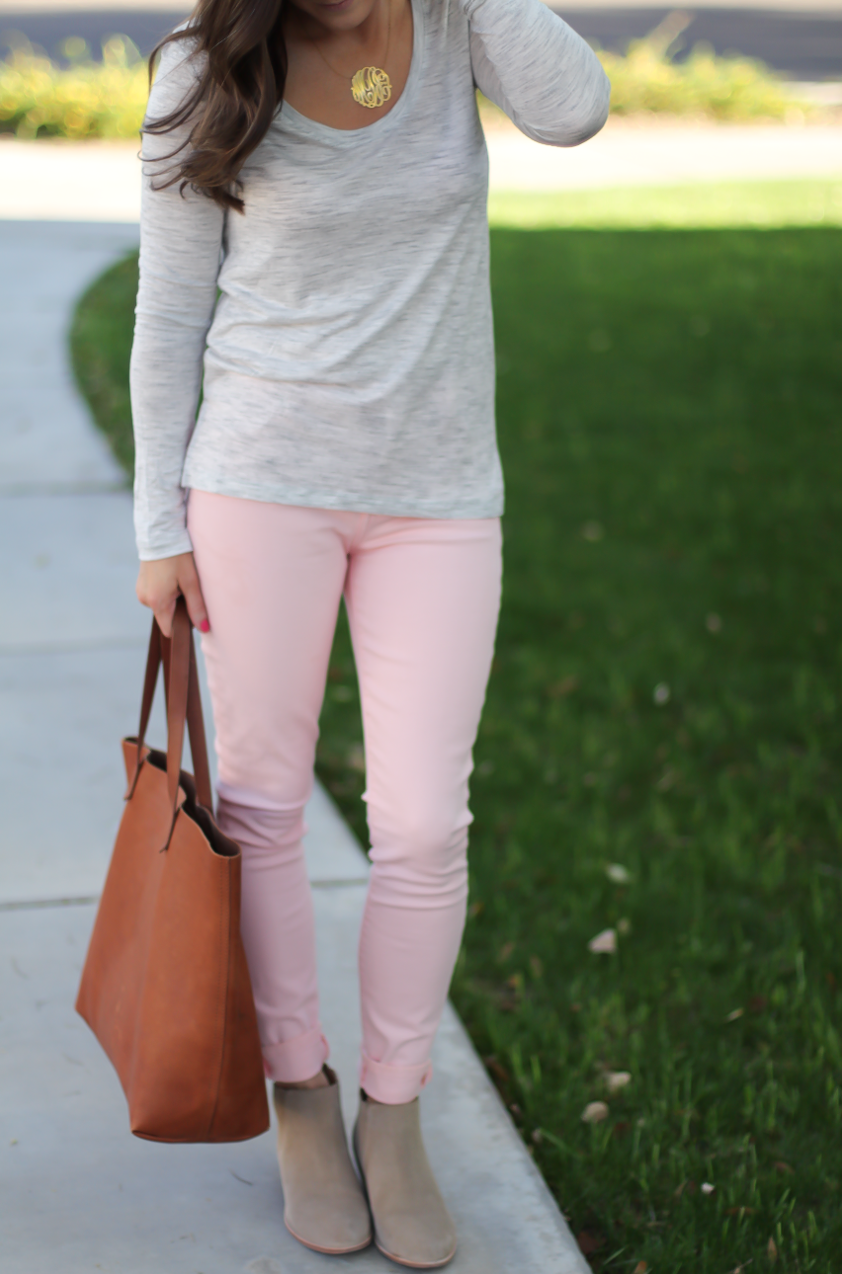 Blush Pink Skinny Jeans, Grey Scoop Neck Tee, Tan Suede Booties, Cognac Leather Tote, 7 for All Mankind, Banana Republic, Joie, Madewell 8