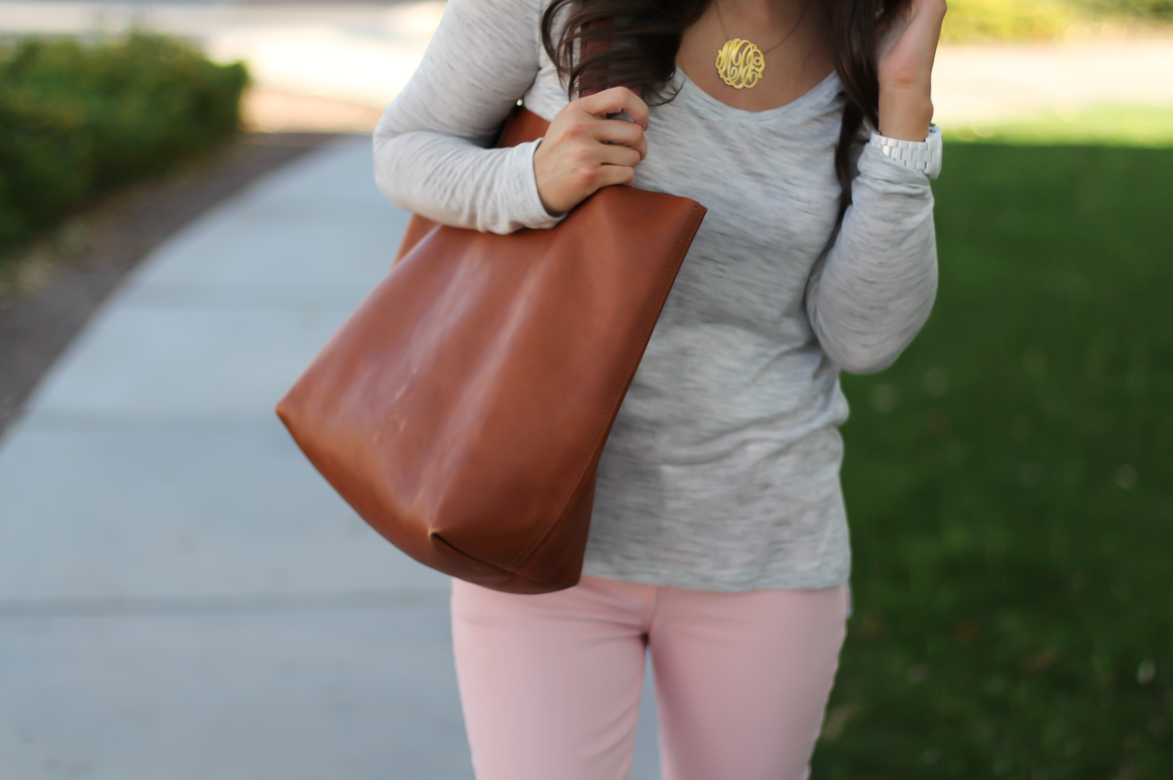 Blush Pink Skinny Jeans, Grey Scoop Neck Tee, Tan Suede Booties, Cognac Leather Tote, 7 for All Mankind, Banana Republic, Joie, Madewell 9