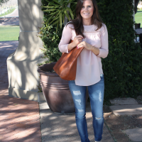 Blush Pink Tee, Distressed Skinny Jeans, Tan Suede Booties, Cognac Tote, Loft, 7 for all Mankind, Joie, Madewell