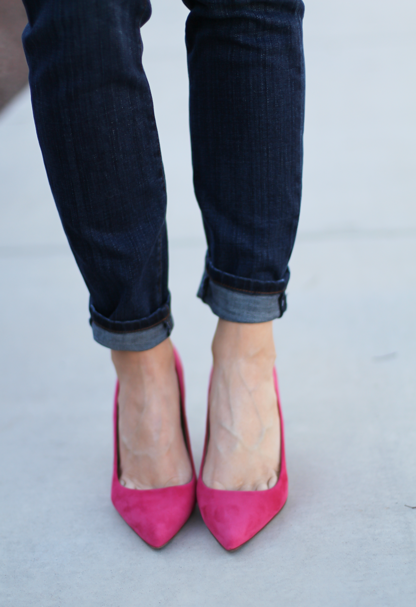 Chambray Shirt, Dark Rinse Skinny Jeans, Pink Suede Heels, Brown Leather Tote, J.Crew, Current Elliott, J.Crew, Celine 11