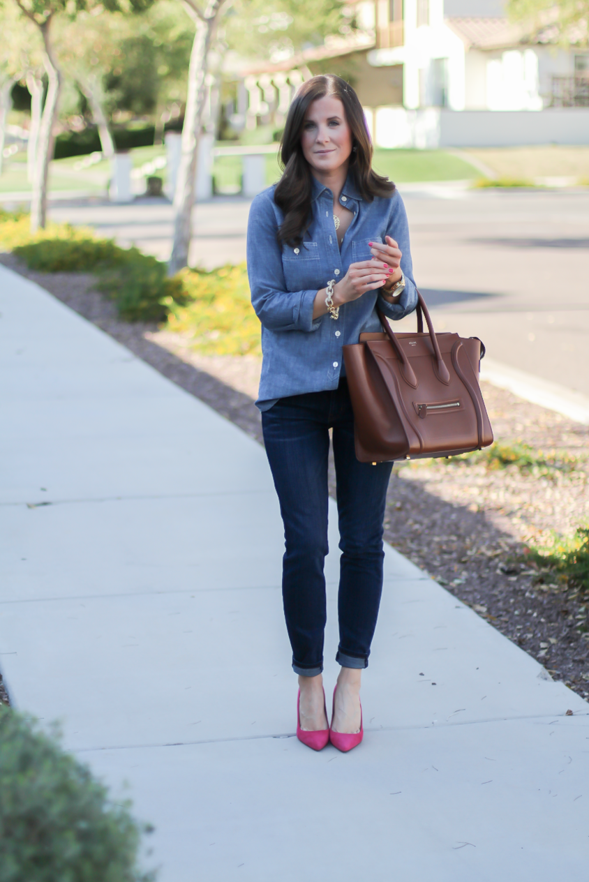 Chambray Shirt, Dark Rinse Skinny Jeans, Pink Suede Heels, Brown Leather Tote, J.Crew, Current Elliott, J.Crew, Celine 2