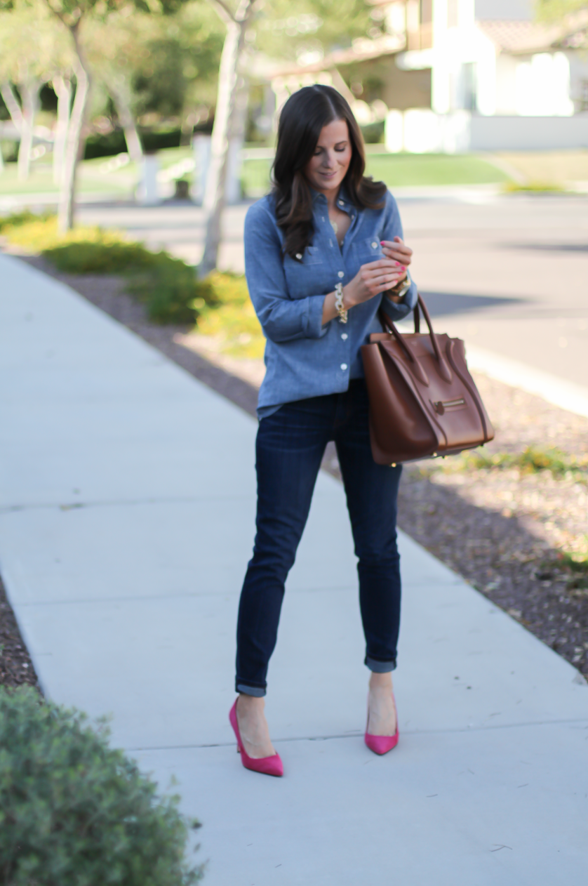 Chambray Shirt, Dark Rinse Skinny Jeans, Pink Suede Heels, Brown Leather Tote, J.Crew, Current Elliott, J.Crew, Celine 3