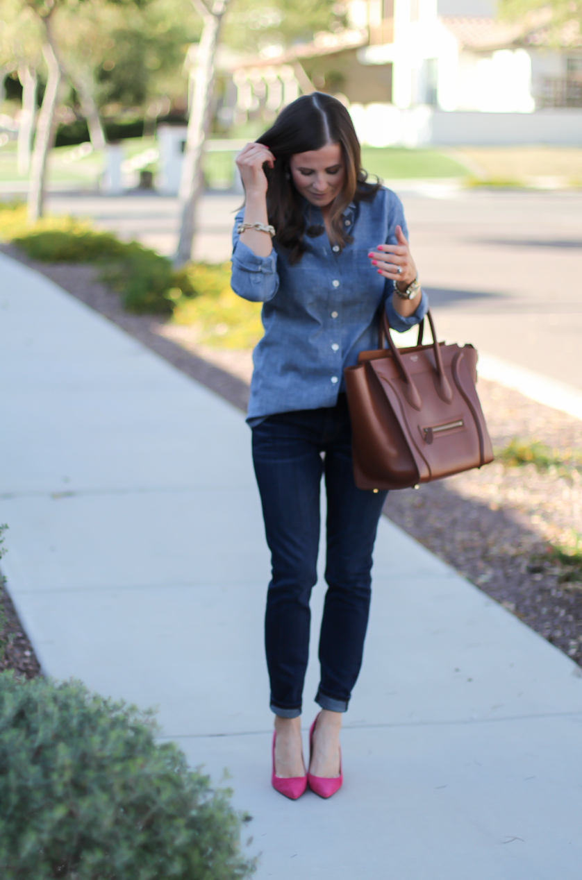 Chambray Shirt, Dark Rinse Skinny Jeans, Pink Suede Heels, Brown Leather Tote, J.Crew, Current Elliott, J.Crew, Celine 4