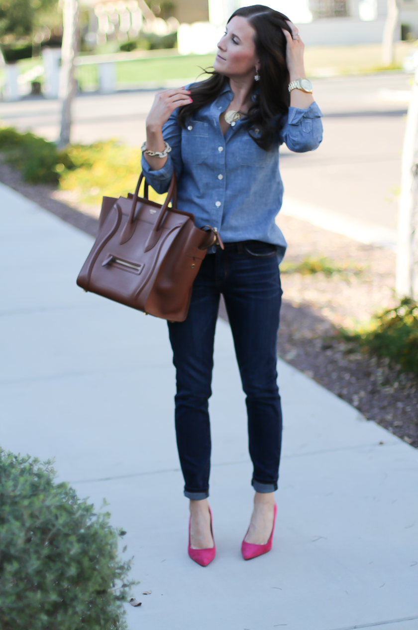 Chambray Shirt, Dark Rinse Skinny Jeans, Pink Suede Heels, Brown Leather Tote, J.Crew, Current Elliott, J.Crew, Celine 5