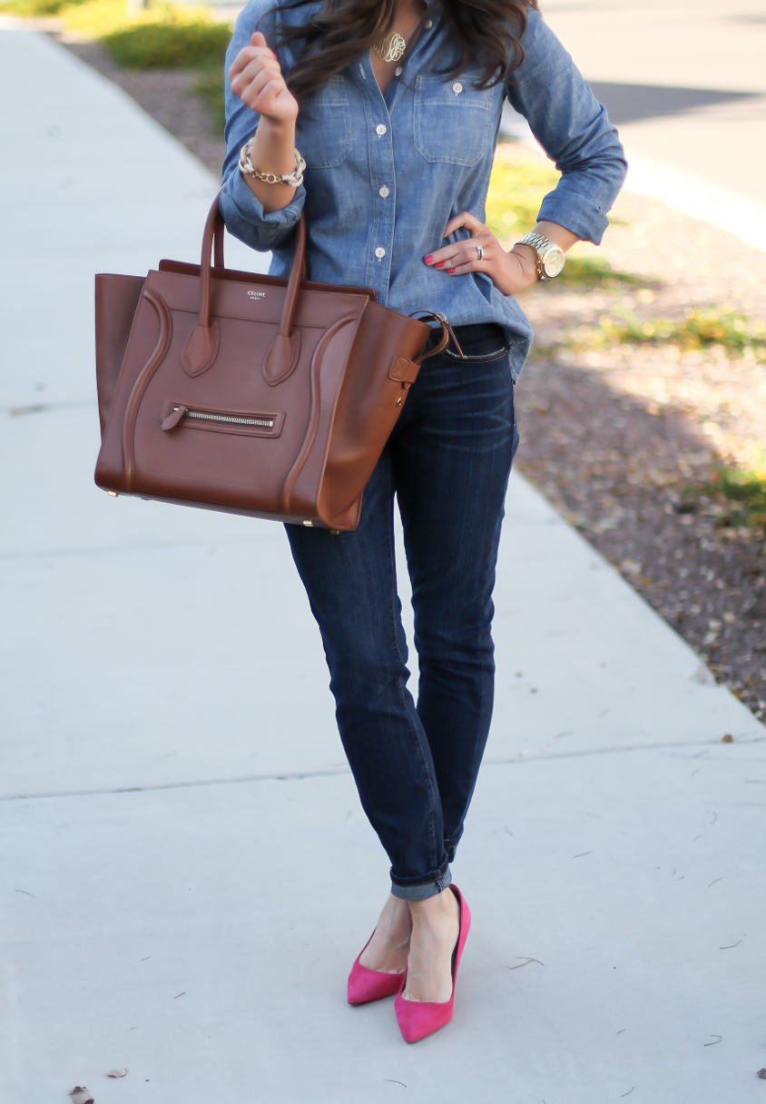 Chambray Shirt, Dark Rinse Skinny Jeans, Pink Suede Heels, Brown Leather Tote, J.Crew, Current Elliott, J.Crew, Celine 7