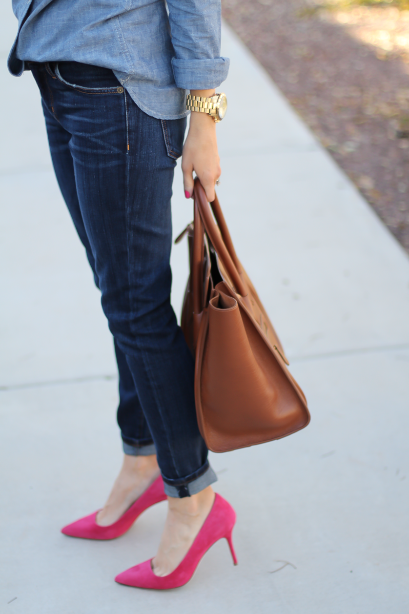 Chambray Shirt, Dark Rinse Skinny Jeans, Pink Suede Heels, Brown Leather Tote, J.Crew, Current Elliott, J.Crew, Celine 9