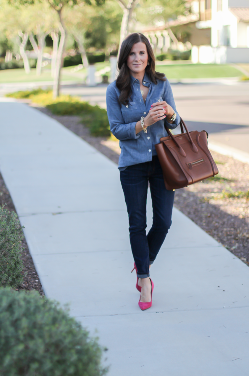 Chambray Shirt, Dark Rinse Skinny Jeans, Pink Suede Heels, Brown Leather Tote, J.Crew, Current Elliott, J.Crew, Celine