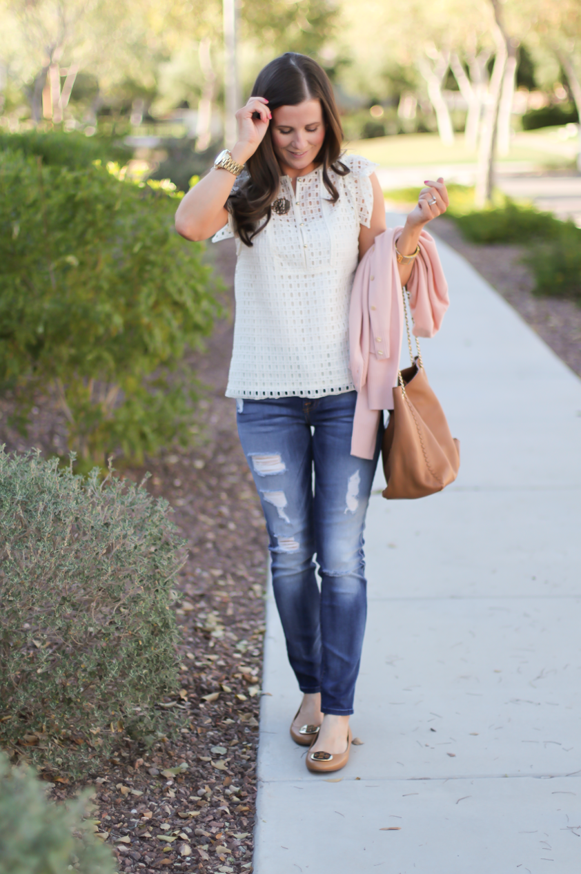 Eyelet Ruffle Sleeve Blouse, Distressed Skinny Jeans, Blush Cashmere Cardigan, Tan Leather Flats, Tan Leather Chain Strap Tote, Banana Republic, 7 for All Mankind, Tory Burch 4